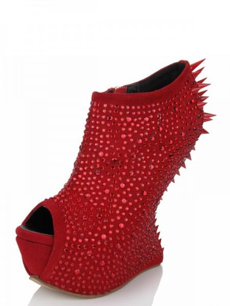 Mulheres Peep Toe Cunhas Camurça Plataforma com Imitação de Diamante Sapatos de cunha