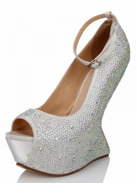 Mulheres Cunhas Silk Peep Toe com Imitação de Diamante Plataforma Sapatos de cunha