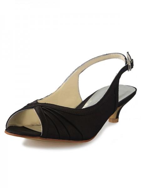 Mulheres Salto Gatinho Cetim Peep Toe Slingbacks com Fivela Sandálias Sapatos