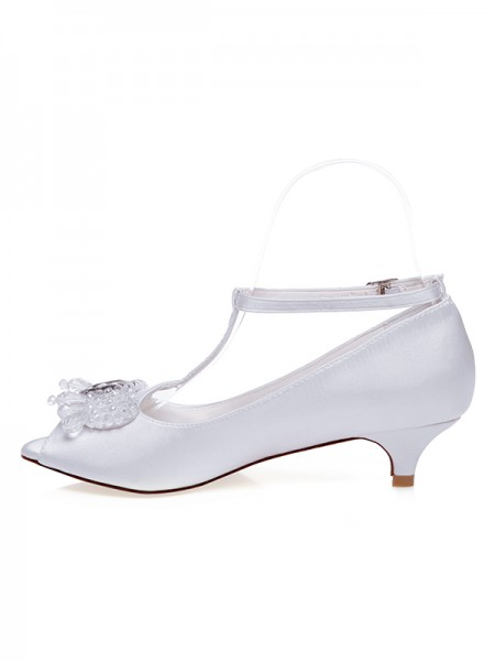 The Most À moda Mulheres Cetim Peep Toe Cone Heel Casamento Sapatos