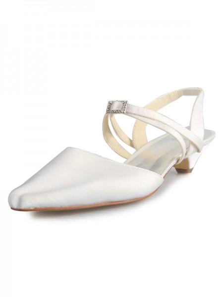 Mulheres Cetim Salto Gatinho Dedo do pé fechado com Fivela Branco Casamento Sapatos