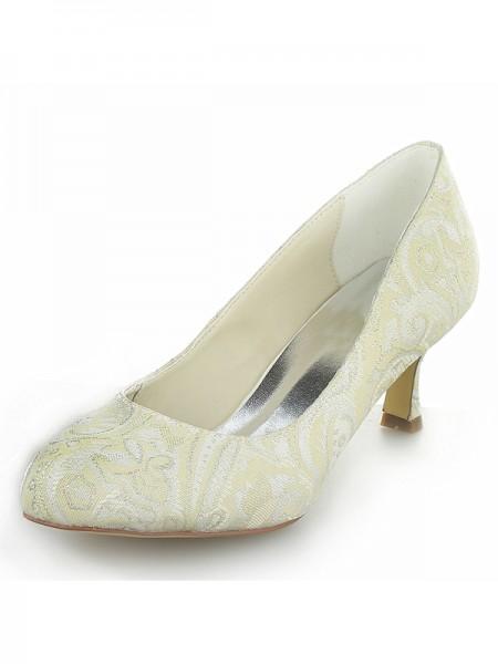 Mulheres Cetim PU Dedo do pé fechado Spool Heel Casamento Sapatos