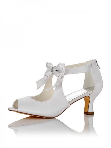 Mulheres Cetim PU Peep Toe Spool Heel Casamento Sapatos