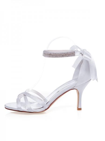 Mulheres Cetim Peep Toe Stiletto Heel Silk Casamento Sapatos