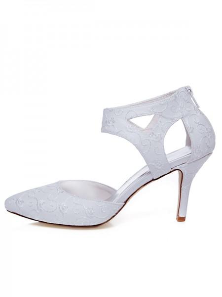 Mulheres Cetim Dedo do pé fechado Spool Heel Zíper Casamento Sapatos