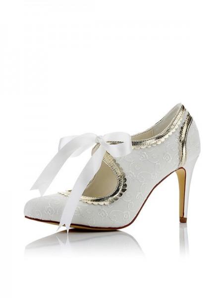 Mulheres Cetim PU Dedo do pé fechado Stiletto Heel Casamento Sapatos