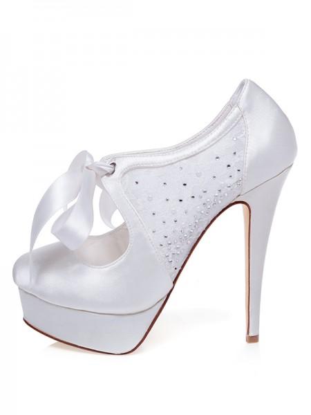 Mulheres Cetim Dedo do pé fechado Stiletto Heel Silk Casamento Sapatos