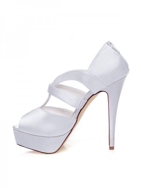 Mulheres Cetim Peep Toe Zíper Stiletto Heel Casamento Sapatos