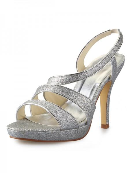 Mulheres Cone Heel Plataforma Cetim Peep Toe com Sparkling Glitter Sandálias Sapatos
