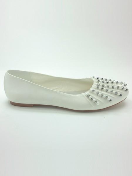 Mulheres Cetim Dedo do pé fechado Heel Plana Missangas Casamento Sapatos
