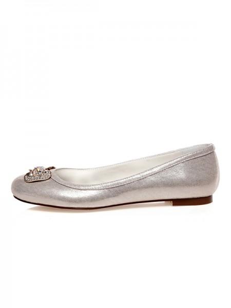 Mulheres PU Dedo do pé fechado Imitação de Diamantes Heel Plana Casamento Sapatos