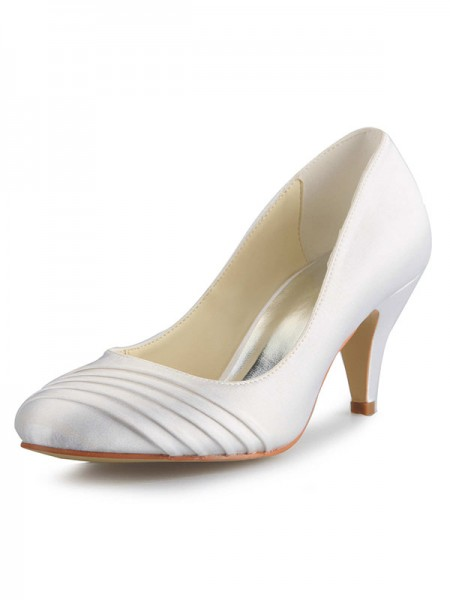 Mulheres Cone Heel Cetim Dedo do pé fechado Branco Casamento Sapatos