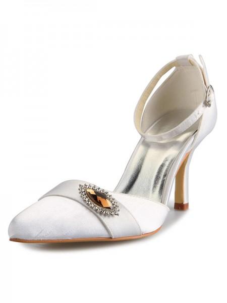 Mulheres Mary Jane Cetim Stiletto Heel Dedo do pé fechado com Imitação de Diamante Branco Casamento Sapatos