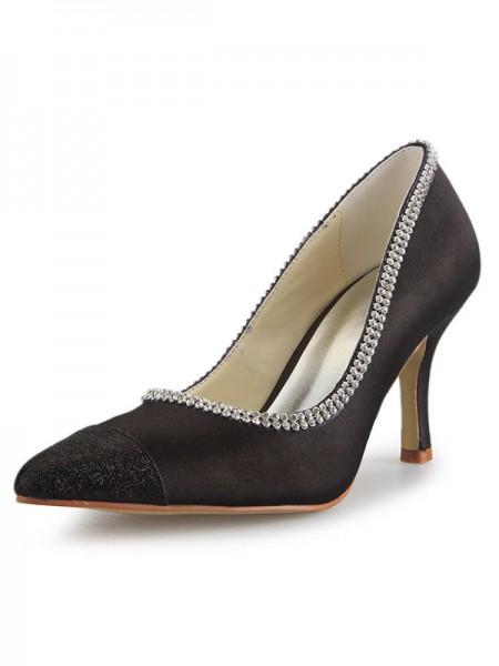 Mulheres Cetim Spool Heel Dedo do pé fechado com Imitação de Diamante Office Salto alto