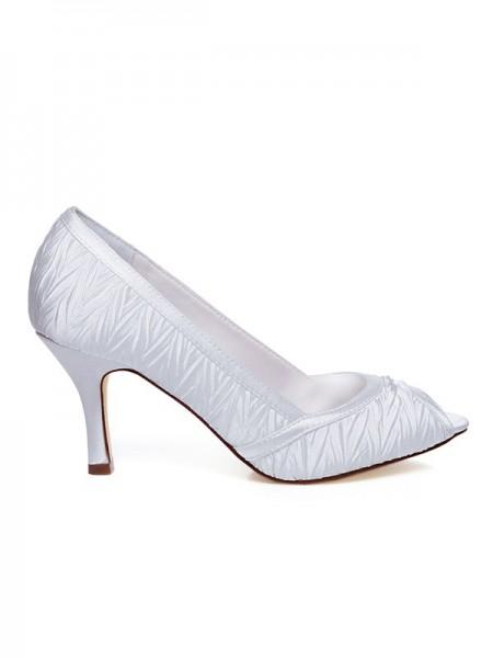 Mulheres Cetim Spool Heel Casamento Sapatos