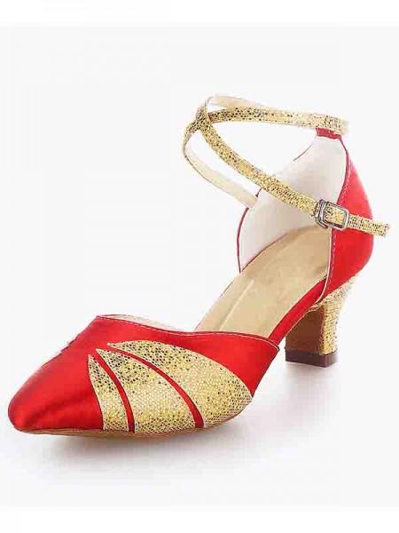 Mulheres Cetim Dedo do pé fechado Calcanhar Crude Fivela Sparkling Glitter Sapatos de Dança