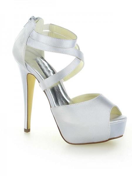 Mulheres Cetim Plataforma Peep Toe com Zíper Stiletto Heel Branco Casamento Sapatos