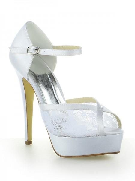 Mulheres Cetim Renda Plataforma Peep Toe com Fivela Stiletto Heel Branco Casamento Sapatos
