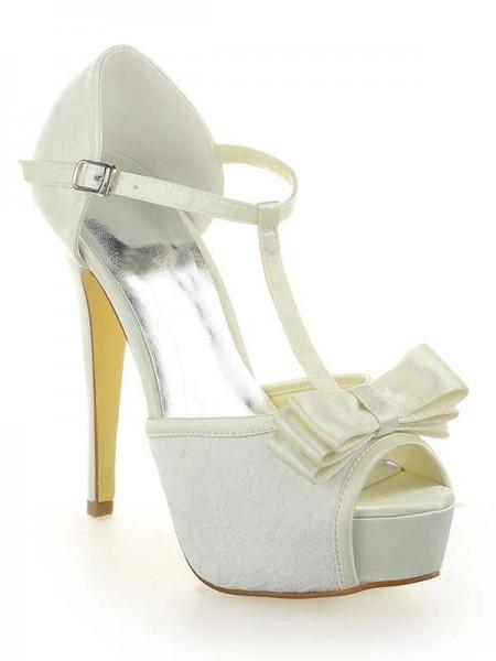 Mulheres Cetim Renda Plataforma Peep Toe com Laço Stiletto Heel Branco Casamento Sapatos