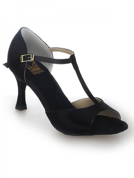 Mulheres Cetim Stiletto Heel Peep Toe Fivela Sapatos de Dança