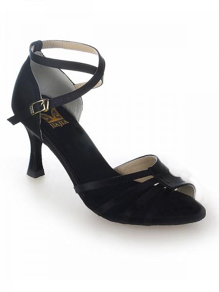 Mulheres Peep Toe Cetim Stiletto Heel Fivela Sapatos de Dança