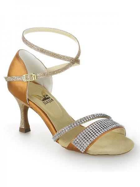 Mulheres Stiletto Heel Peep Toe Cetim Fivela Sapatos de Dança