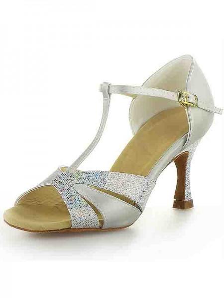 Mulheres Cetim Stiletto Heel Peep Toe Fivela Sparkling Glitter Sapatos de Dança