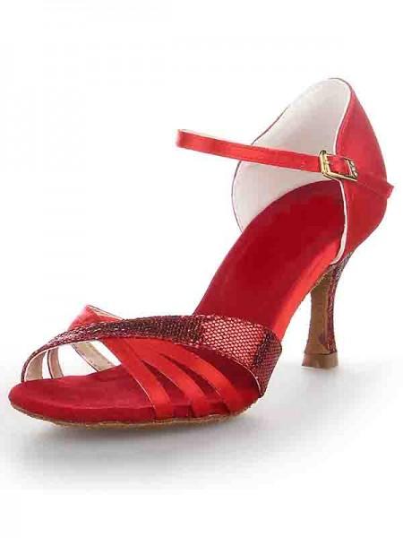 Mulheres Stiletto Heel Cetim Peep Toe Fivela Sapatos de Dança