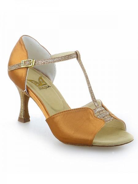 Mulheres Stiletto Heel Fivela Peep Toe Cetim Sapatos de Dança