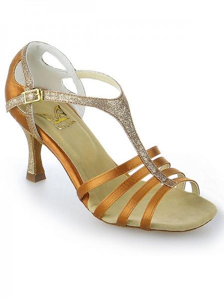 Mulheres Peep Toe Fivela Stiletto Heel Cetim Sapatos de Dança