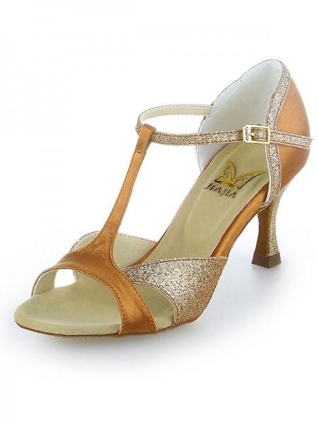 Mulheres Cetim Peep Toe Sparkling Glitter Stiletto Heel Sapatos de Dança