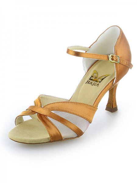 Mulheres Cetim Peep Toe Fivela Stiletto Heel Sapatos de Dança