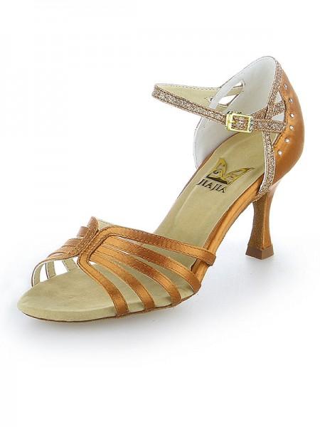 Mulheres Cetim Peep Toe Stiletto Heel Sparkling Glitter Sapatos de Dança
