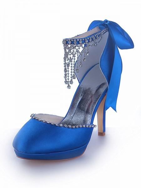 Mulheres Mary Jane Cetim Plataforma Dedo do pé fechado Cone Heel com Imitação de Diamante Plataforma Sapatos