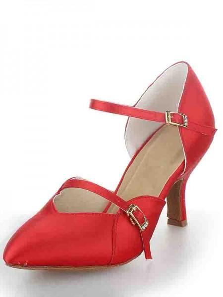 Mulheres Stiletto Heel Cetim Dedo do pé fechado Fivela Sapatos de Dança