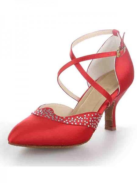 Mulheres Cetim Dedo do pé fechado Stiletto Heel Fivela Sapatos de Dança