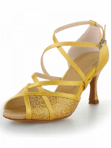 Mulheres Cetim Peep Toe Stiletto Heel Fivela Sapatos de Dança