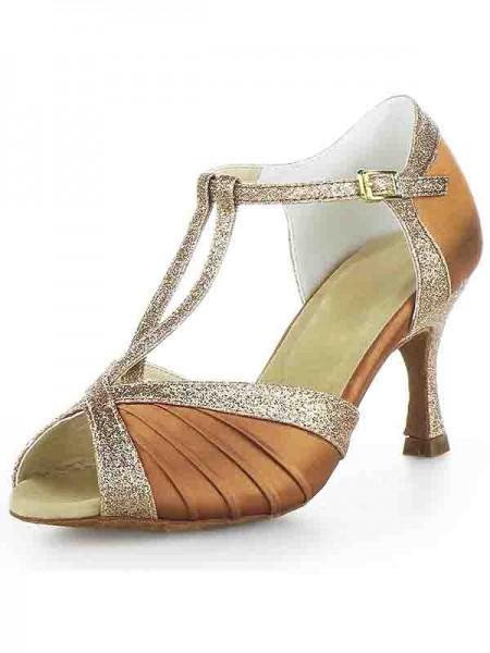 Mulheres Stiletto Heel Cetim Peep Toe Fivela Sparkling Glitter Sapatos de Dança