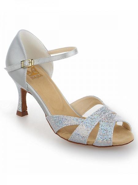 Mulheres Cetim Stiletto Heel Peep Toe com Sparkling Glitter Sapatos de Dança