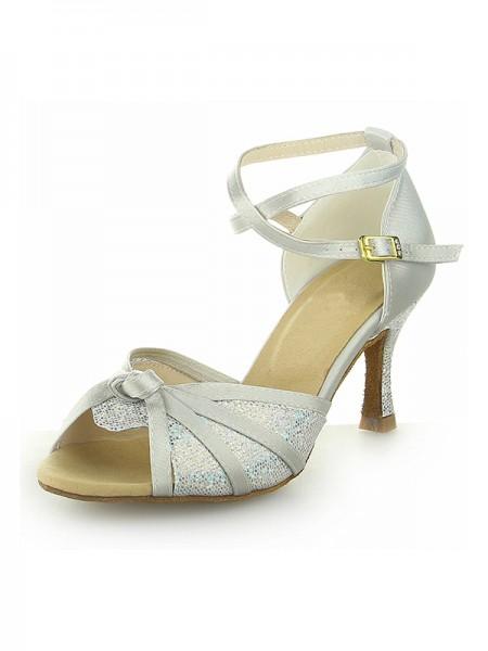 Mulheres Peep Toe com Sparkling Glitter Cetim Stiletto Heel Sapatos de Dança