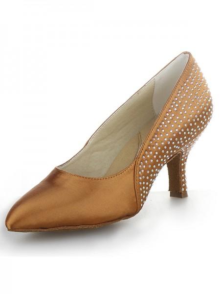 Mulheres Cone Heel Cetim Dedo do pé fechado com Imitação de Diamante Salto alto