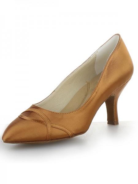 Mulheres Dedo do pé fechado Cetim Cone Heel Salto alto