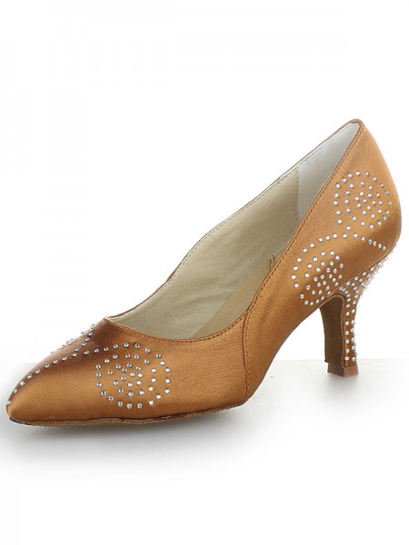 Mulheres Dedo do pé fechado Cetim Cone Heel com Imitação de Diamante Salto alto