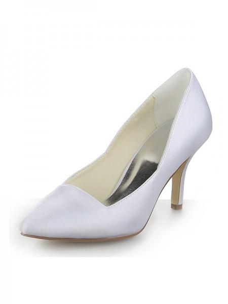 Mulheres Dedo do pé fechado Cetim Stiletto Heel Vestidos Branco Casamento Sapatos