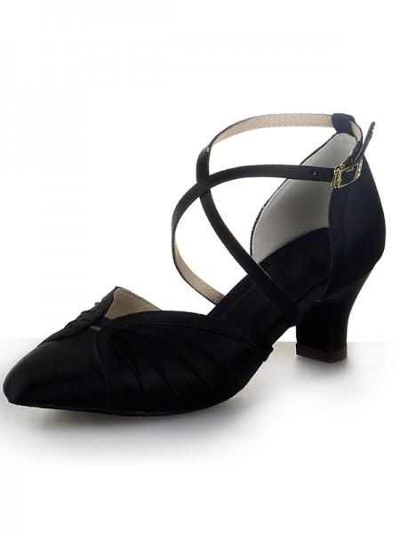 Mulheres Dedo do pé fechado Cetim Calcanhar Crude Fivela Sapatos de Dança