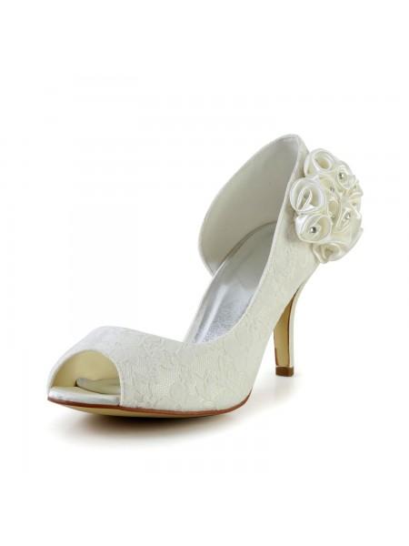 Mulheres Trendy Stiletto Heel Cetim Marfim Casamento Sapatos com Flor