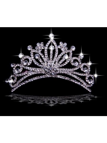 Unqiue Liga com Czech Imitação de Diamantes Flores Tiaras de casamento