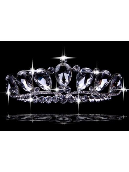 Very Graceful Liga com Czech Imitação de Diamantes Tiaras de casamento