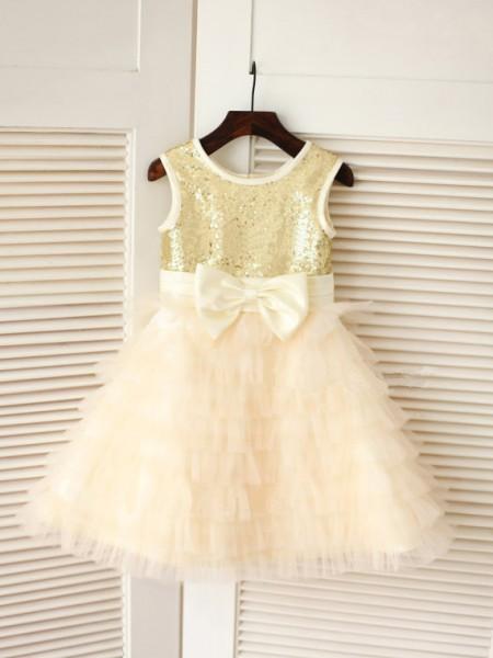 Princesa/Formato A Decote e costas em U Sem Mangas Laço Longa Tule Vestidos